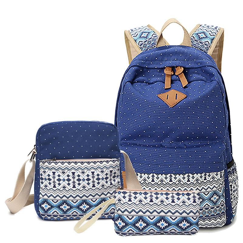 Dot Canvas Printing Backpack Women School Back Bags For Teenage Girls Cute Black Set Travel Backpacks Female Bagpack Rucksack #3
