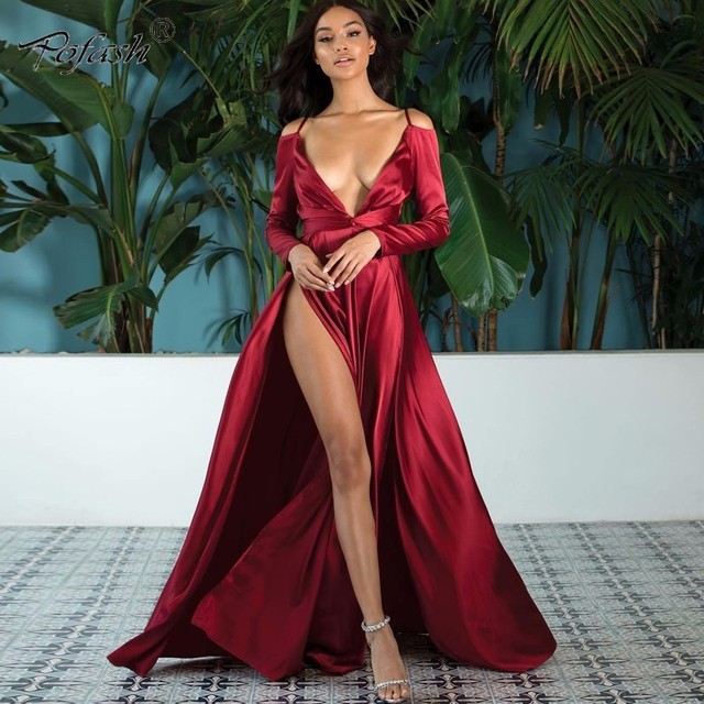 8d1c292aef US $26.18 10% OFF|Aliexpress.com : Buy POFASH Off Shoulder V neck Sexy  Summer Autumn Dress Party Backless Beach Maxi Dress Bodycon Long Dresses ...