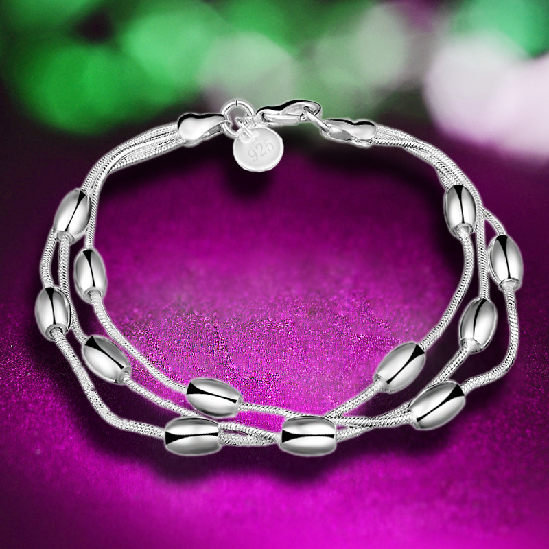 2017 Best Price 925 silver bracelet multi lines beads ball Fashion Silver Beads chain bracelet women lady gift JEWELRY