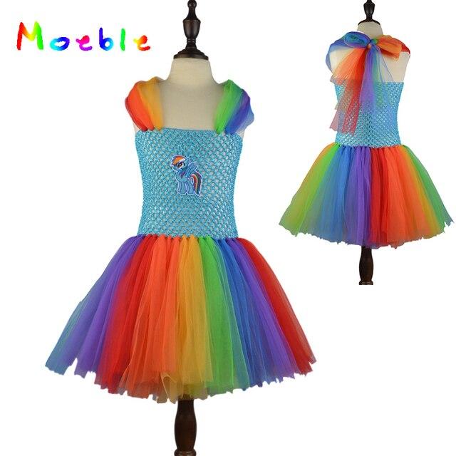 fancy girl cartoon rainbow tutu dress cute children party costume