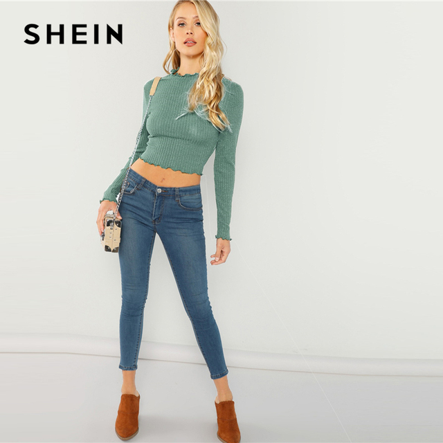 SHEIN Highstreet Green Lettuce Trim  Round Neck Solid Pullovers Crop Top 2018 Autumn Casual Women Modern Lady Tshirt Top 2