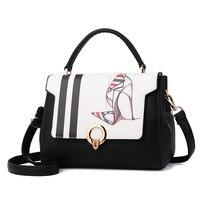 Fashion New Handbags High Quality PU Leather Women Bag Sweet Cartoon Design Rose Shoes Pattern Shoulder