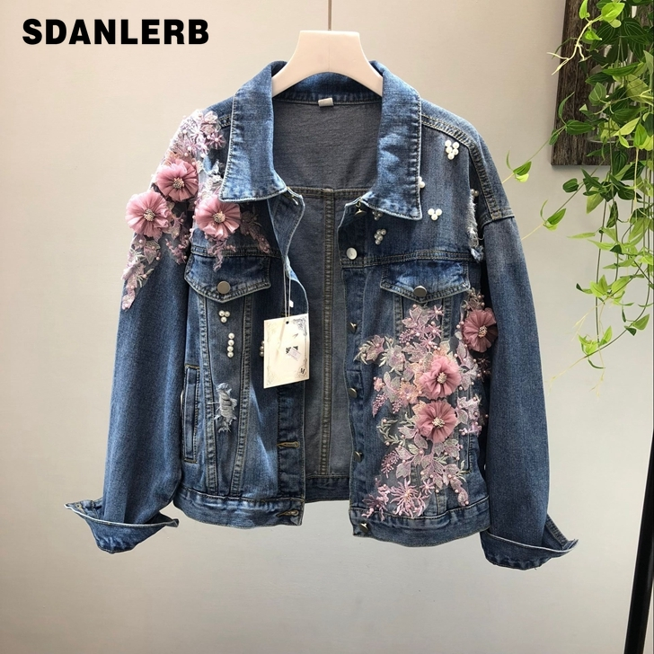 2019 Spring Autumn Jeans   Jacket   Coat Woman New Heavy Stereo Pink Flower Embroidered Hole Denim   Jackets   Student   Basic   Coats