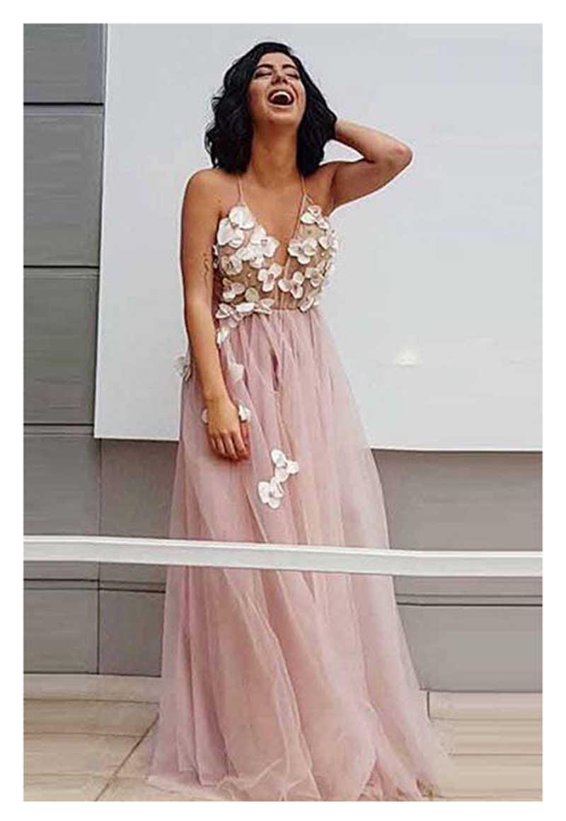 ורוד שמלות כלה 2019 בעבודת יד פרחי טול אונליין סקסי ללא משענת חוף הכלה שמלת חתונת שמלה ארוכה רכבת אור ורוד