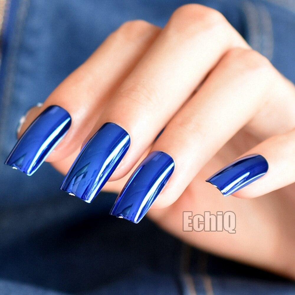 Extra Lange Drücken Auf Nägel Diamant Blau Spiegel Shiny Metallic ...