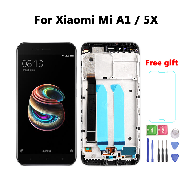 New LCD For Xiaomi Mi A1 LCD Display Touch Screen Digitizer Assembly Replacement For MiA1 Mi5X Mi 5X LCD Screen With Frame
