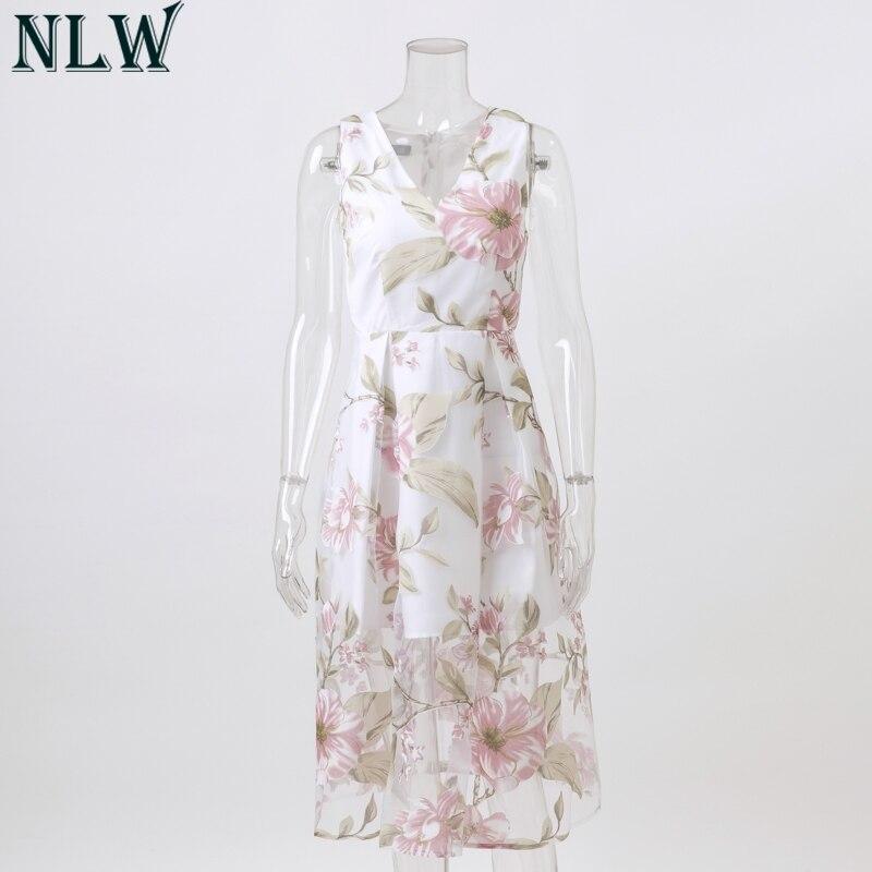 a2d2daa61 NLW de malla vestido Midi con estampado Floral verano Vestido Mujer ...