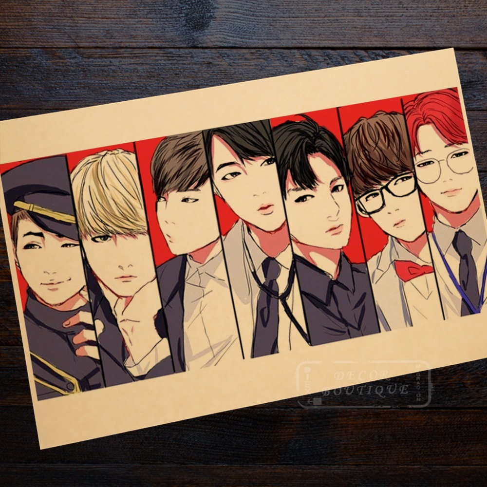 Smiling BTS Group Wall Mural Poster Decorative DIY Wall Canvas ...