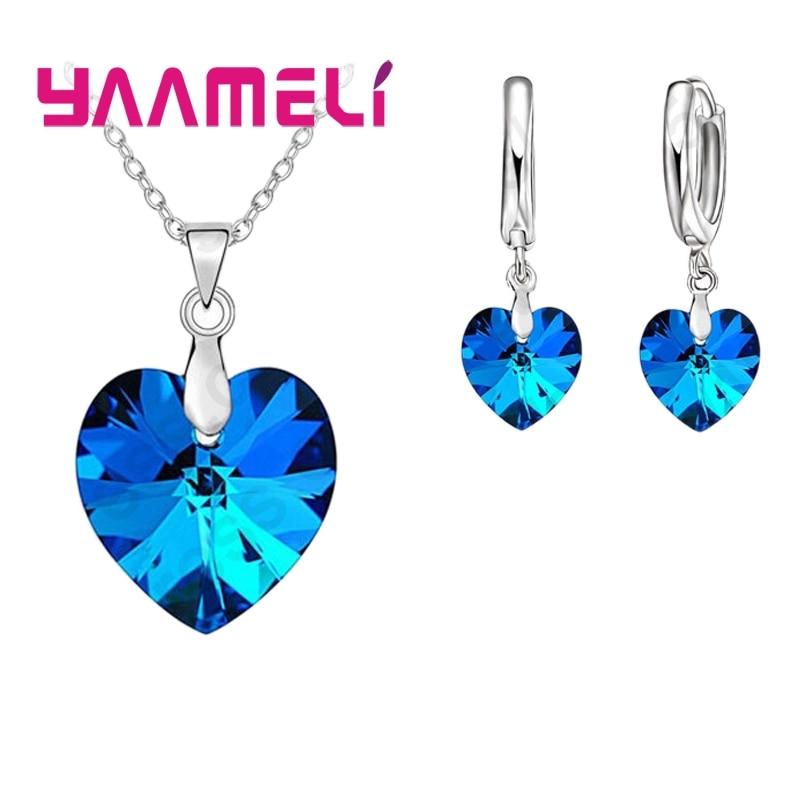 Love Heart Shape Women 925 Sterling Silver Bridal Jewelry Set For Wedding Fashion Crystal Pendants Necklaces Earring Set