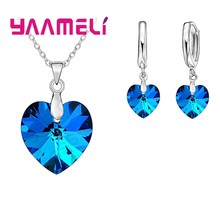 Love Heart Shape Women 925 Sterling Silver Bridal Jewelry Set For Wedding Fashion Crystal Pendants Necklaces Earring Set(China)