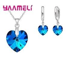 Купить с кэшбэком YAAMELI Love Heart Shape Women 925 Sterling Silver Bridal Jewelry Set For Wedding Fashion Crystal Pendants Necklaces Earring Set