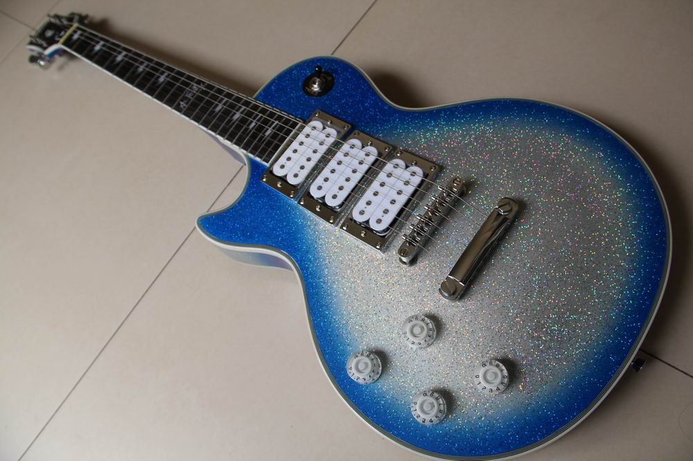 Left Handed Ace frehley signature Electric Guitar Kiss Blue/Silver/Flash Silver Finish Top Quality 120521
