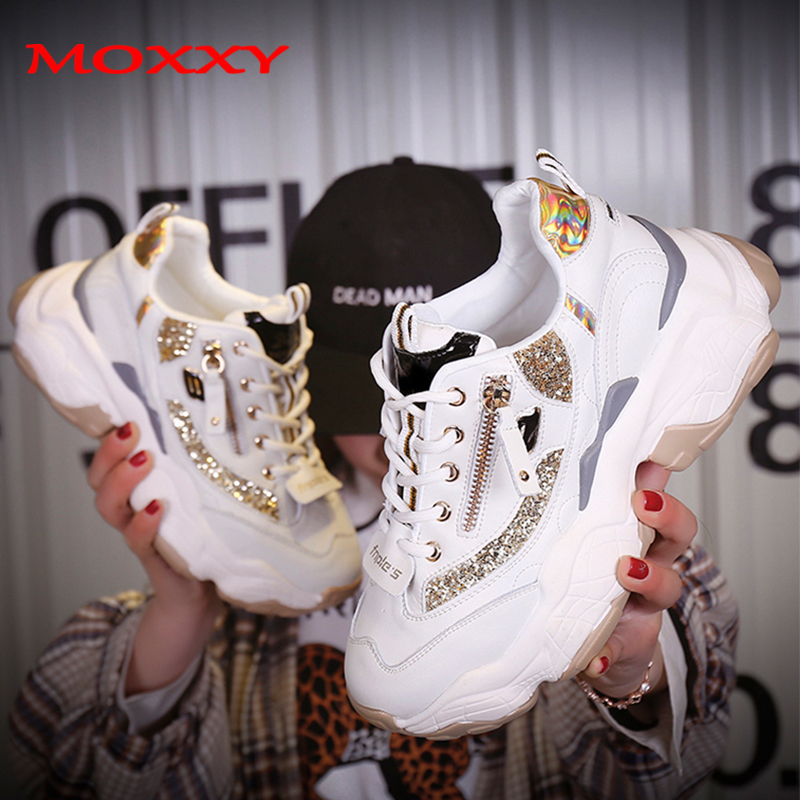 Ladies Glitter Chunky Sneakers Platform 2019 Casual Dad Shoes White dames Sneakers Women Shoes Trainers basket chaussure femmeLadies Glitter Chunky Sneakers Platform 2019 Casual Dad Shoes White dames Sneakers Women Shoes Trainers basket chaussure femme