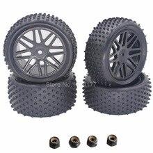 4 unids rc 1/10 buggy ruedas y neumáticos 12mm hexagonal para fuera de carretera rc coche hsp hpi neumático