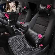 Милый цветок розы украшение интерьера автомобиля кожа кристалл авто подушка для шеи ручной тормоз Gears переложить крышку ремень случае аксессуары