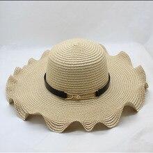 SUOGRY Летняя шляпа для Для женщин соломенная шляпа-Панама для пляжного путешествия шляпа от солнца