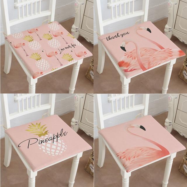 Flamingo Mediterranean Style Tropical Plants Summer Palm Leaf Pink Seat  Chair Cushion Wedding Gift Home Car