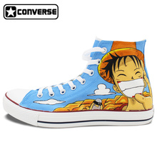 High Top Canvas Shoes Converse All Star One Piece Luffy Design Custom Hand Painted Sneakers Men Women Skateboarding Shoes