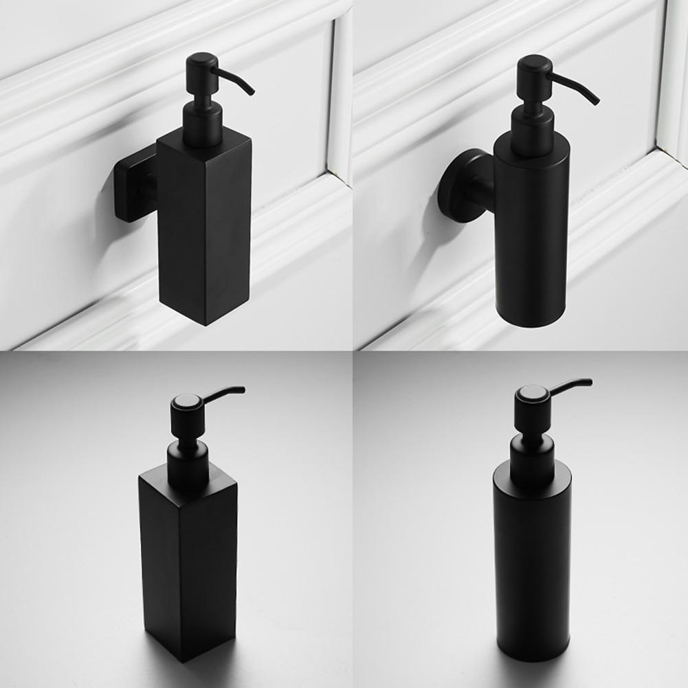 200ml Wall Mounted Pumps Stainless Steel Lotion Pump Home Bath Black Coated Boston Round Soap Dispenser Bathroom Supply