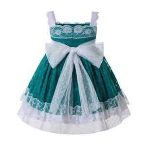 Image 3 - Pettigirl Nieuwste Groen Baby Meisjes Dresseslace Bloem Jurk Met Hoofddeksels En Bows Kids Mouwloze Zomer Kleding G DMGD201 C134