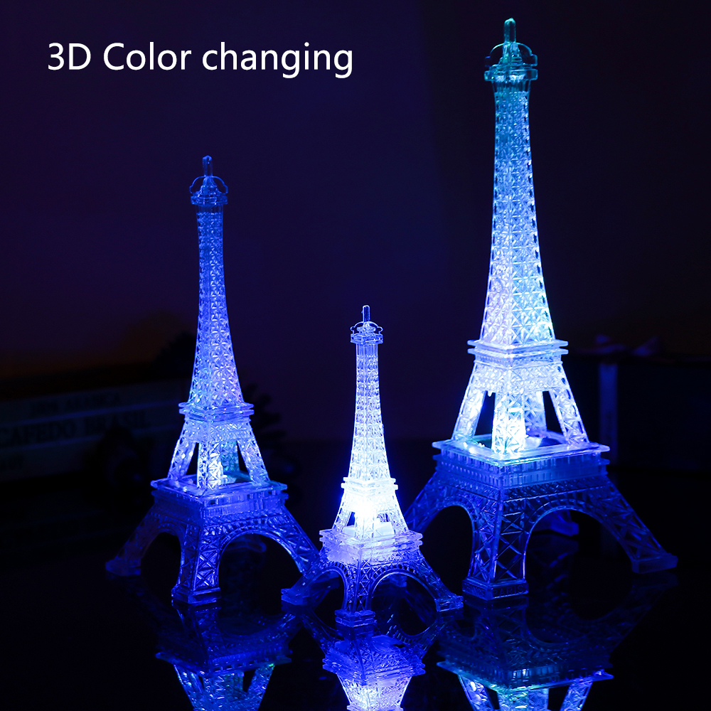 Us 1 18 24 Off 1pcfriend Gift Light Eiffel Tower Night Light Paris Style Decoration Led Lamp Fashion Colorful Table Light Bedroom Acrylic Light In