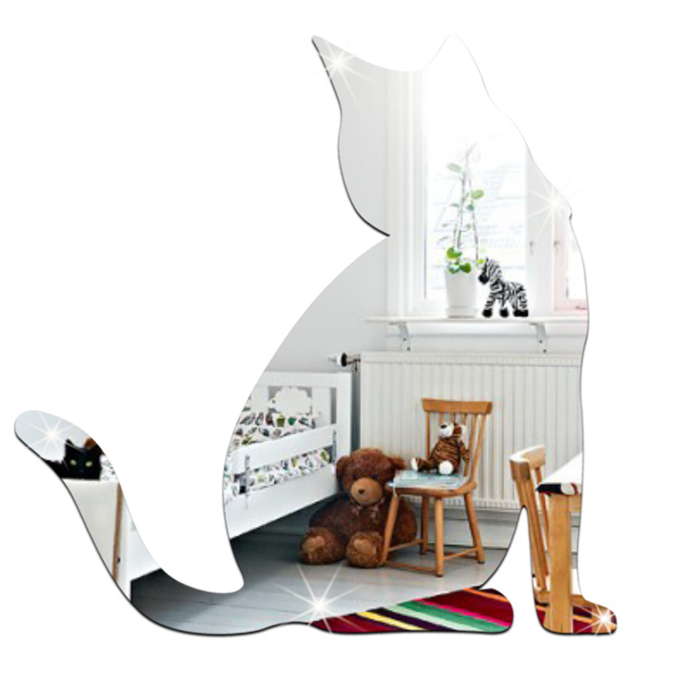 Mirror Sliver 3D Cat Mirror Sticker Party Wedding Decor Wall Stickers DIY Home Decorations Wall Art Decal Accessaries