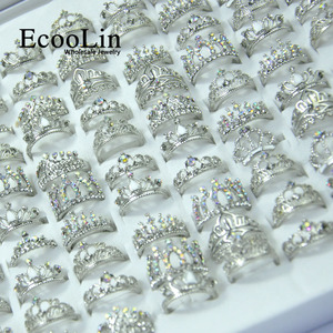 Image 2 - 50Pcs EcooLin Jewelry Fashion Zircon Shiny Crown Silver Plated Rings Lots For Women Bulk Packs LR4024