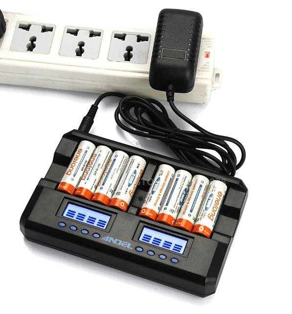 EE. UU./UE 8 ranura cargador LCD AA AAA NIMH recargable cargador de batería lcd con función de activación de la reparación de la Capacidad descargador