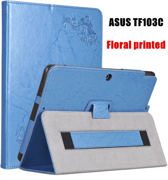 Floral Printed Stand PU Leather Case For ASUS Transformer Pad TF103C TF103CE TF0310C K010 K010E K018 Tablet case Flip cover