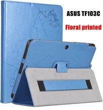 Floral Impreso Soporte PU Funda de piel Para ASUS Pad Transformer TF103C TF103CE TF0310C K010 K010E K018 Tablet caso de la cubierta Del Tirón
