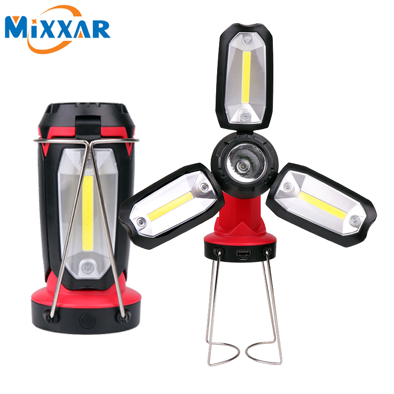 Dropshipping COB Work light Powrful LED Flashlight Camping Hiking Emergency Multifunction Rechargeable Deformable lighting