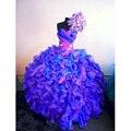 Delicado azul e roxo vestidos Quinceanera vestido de baile mais novo doce 16 vestidos coloridos Organza Ruffles Puffy Quinceanera