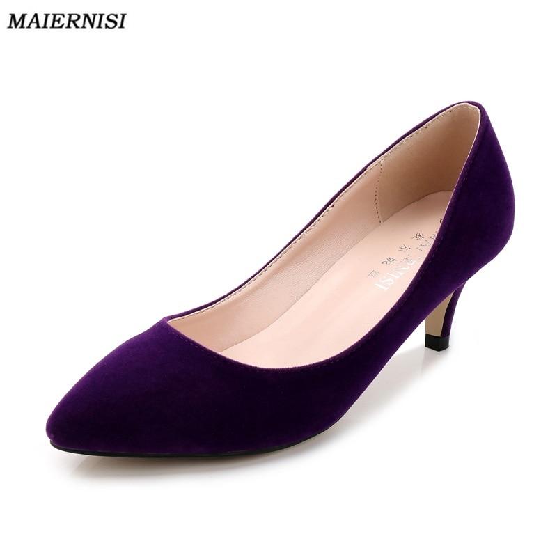 62f773291ab Aliexpress.com   Buy Brand Women 5CM Low Heel Pumps Big Size 35 44 Purple  Kitten Heels Comfort Pumps Zapatos Tacon Bajo Ladies Office Shoes from  Reliable ...