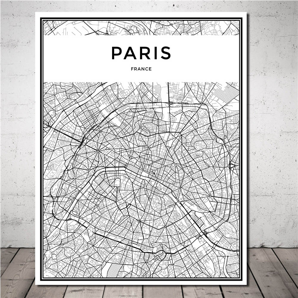 US $7.08 35% OFF Modern City Black White Grid Map Paintings Nordic Art City  Map Poster Canvas Prints Wall Art Picture for Living Room Home Decor-in ...