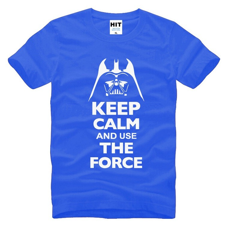 a blue keep calm and use the force tshirt of starwars with white words and slogan