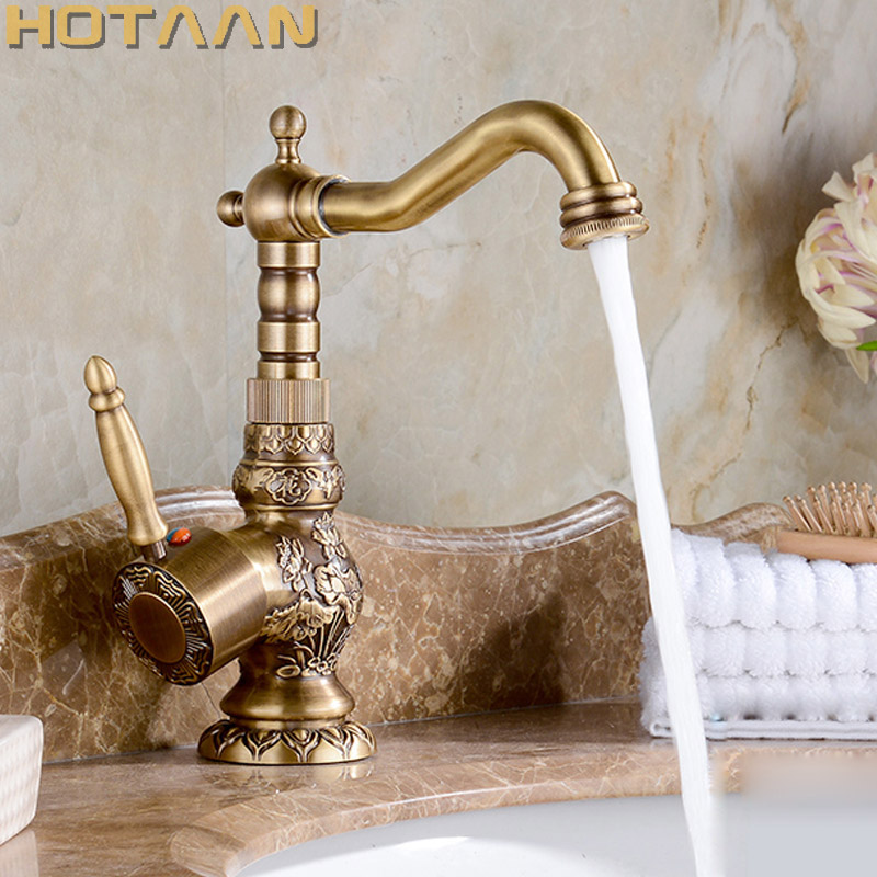 Luxury Antique Bronze Copper Carving Deck Mounted Kitchen Faucet Bathroom Basin Faucet Sink Faucet Mixer Hot and Cold Water Tap цена