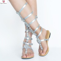 Original Intention Super Sexy Women Sandals Elegant Open Toe Flat Sandals Fashion Gold Silver Blue Woman