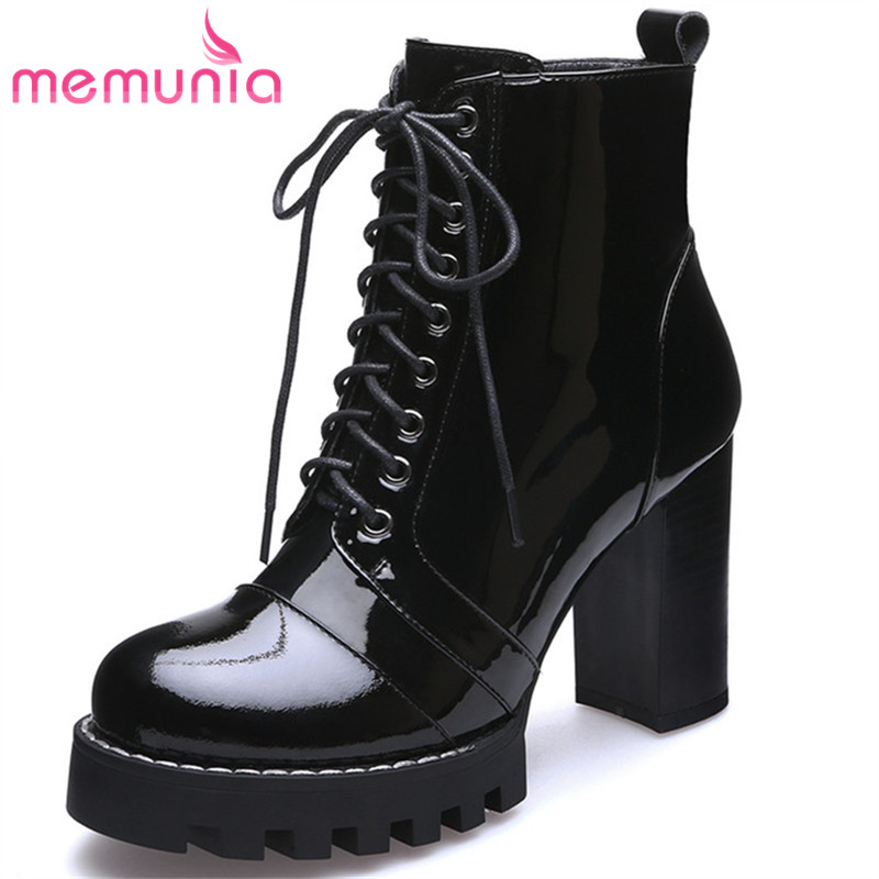 MEMUNIA 2019 New genuine leather boots women lace up autumn winter ankle boots for women platform boots ladies shoesMEMUNIA 2019 New genuine leather boots women lace up autumn winter ankle boots for women platform boots ladies shoes