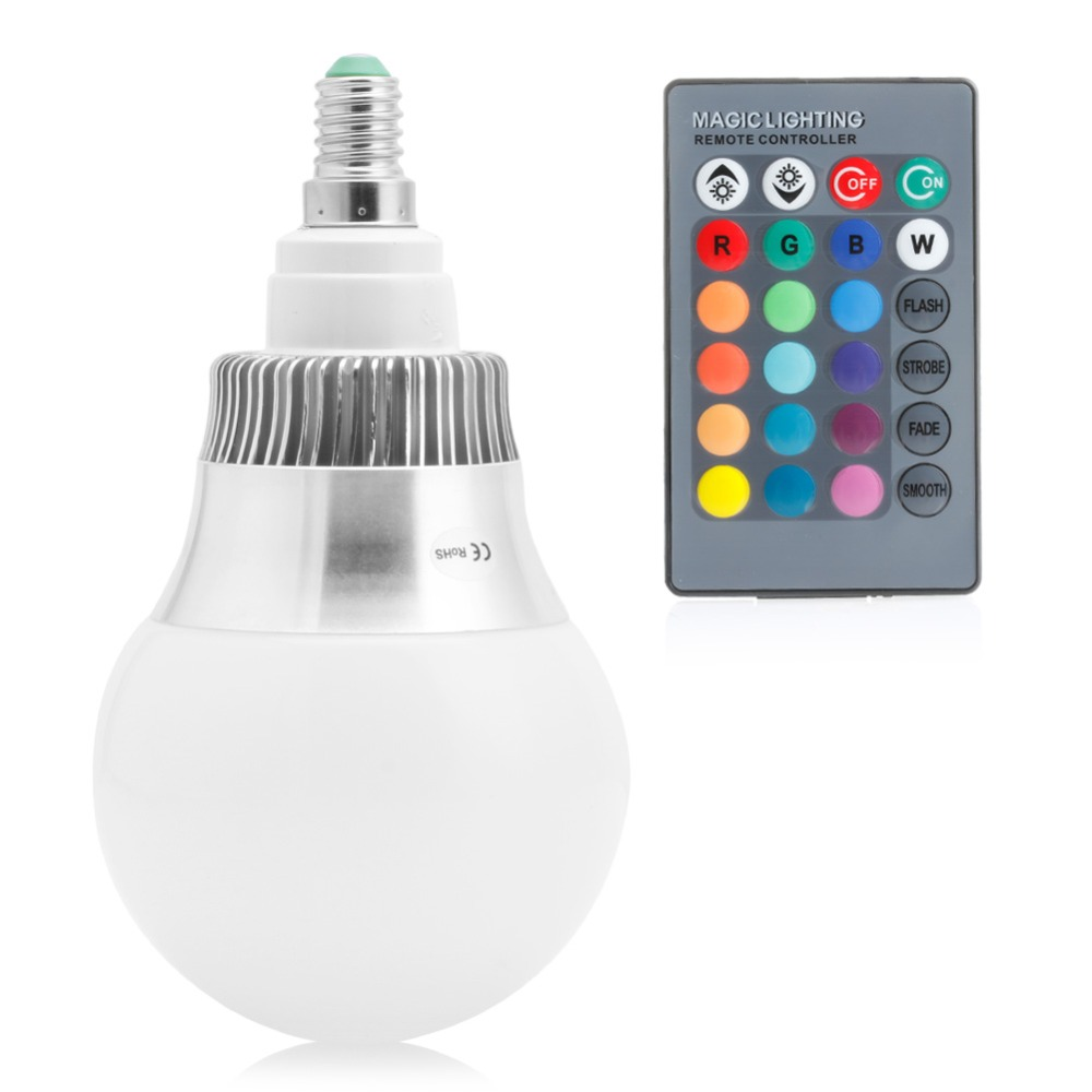 E14 85-265V 15W RGB LED Light Color Changing Lamp Bulb + Remote Control Smooth/Strobe/Flash/Fade/On/Off yam rgb led e27 15w lamp color changing light bulb with remote control 85 265v for home or commercial decorations