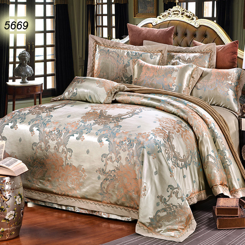 Camel Color Bedding Sets Jacquard Bed Linens Peony