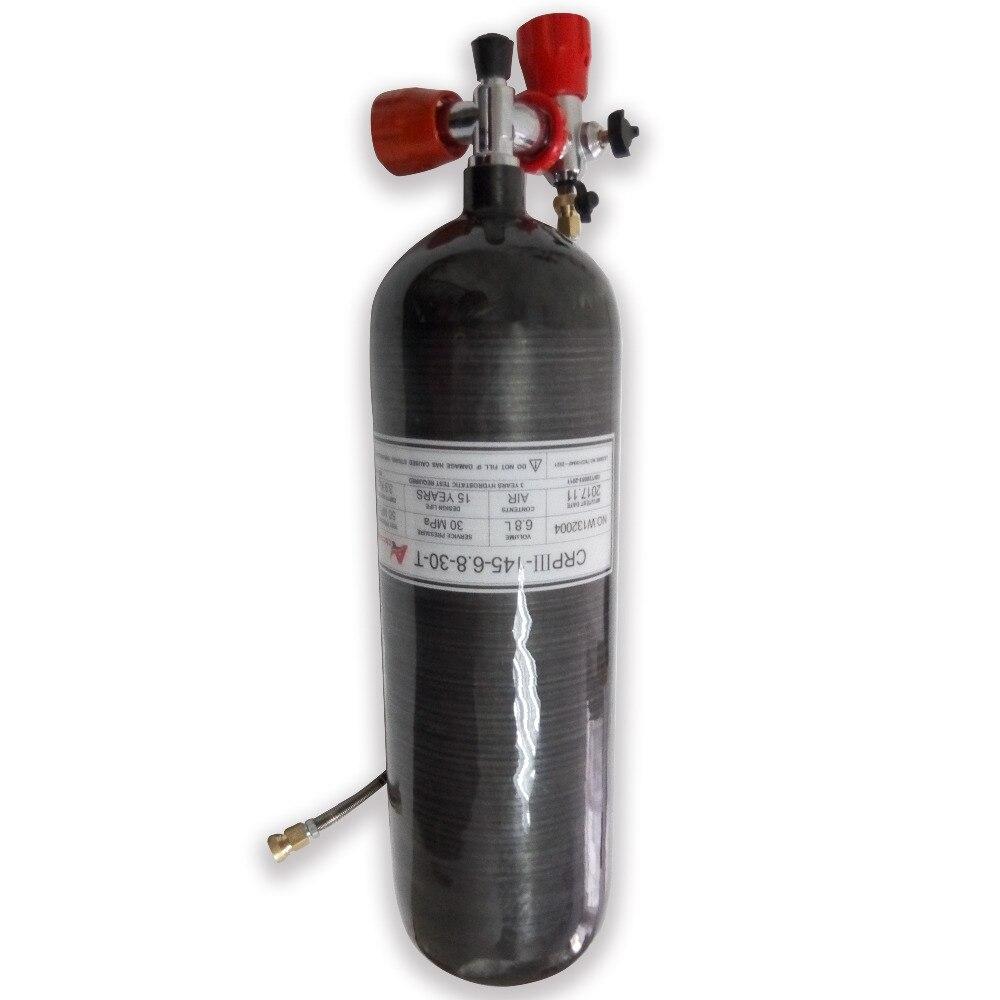 AC368101 Gauge Valve & Fill Station & 6.8L 300bar 4500psi GB PCP Airsoft Paintball Tank Carbon Fiber Diving Cylinder Black