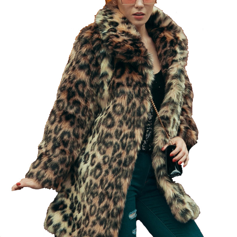 Leopard Faux Fur Coat Women Autumn Winter Fluffy Thicken Warm Long Overcoat Outerwear Turndown Collar Sexy