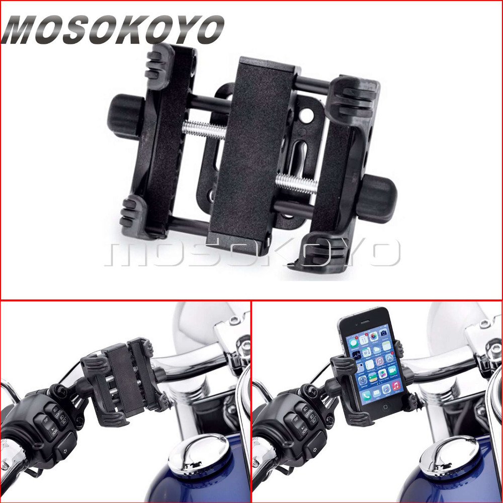 Motorcycle Standard Device Carrier Phone Holder Cell Phone Mount Clamp for Harley Touring Dyna Softail Sportster 2002-2017 image