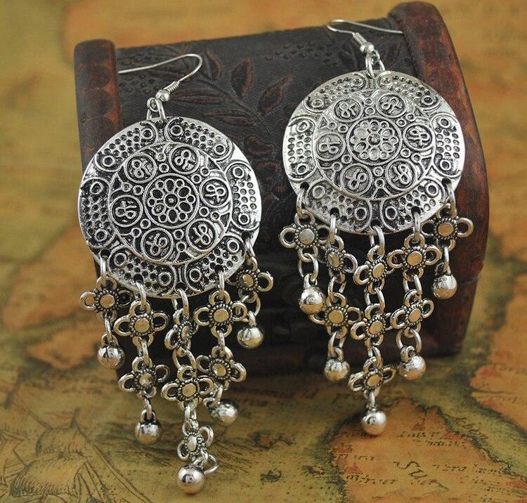 Bohemian Ethnic Tribal Small Flower Metal Ball Tassel Dangle Earrings Belly Dance Jewelry Vintage Gypsy Statement Earring