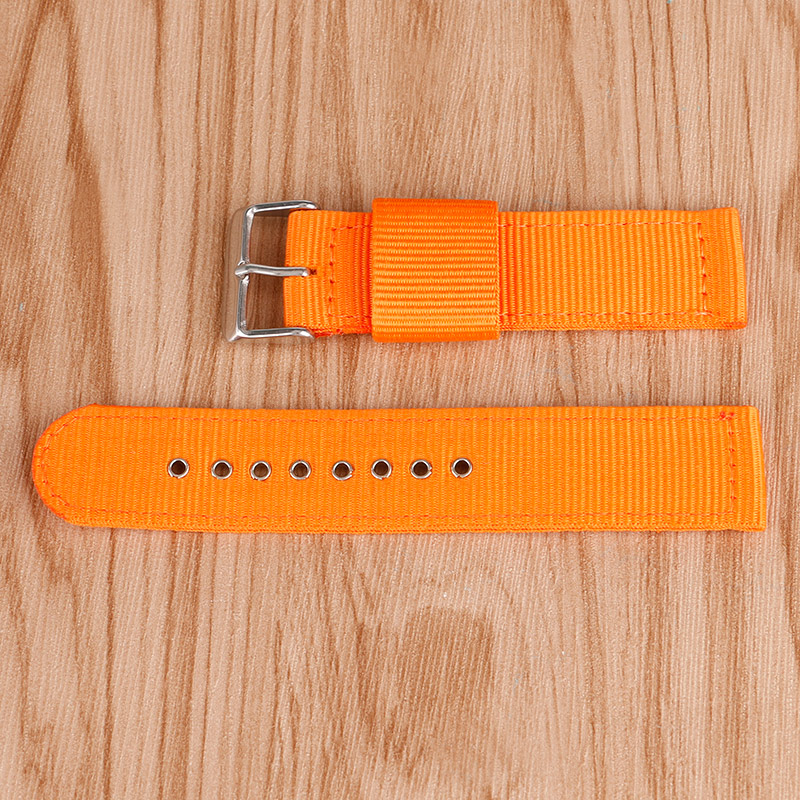 High Quality 20/22/24mm Nylon Casual Sport Orange Watch Strap Band Pin Buckle Outdoor Bracelet + 2 Spring Bars 22 24mm silicone pin buckle wristwatch band mens womens watch strap high quality jd0108