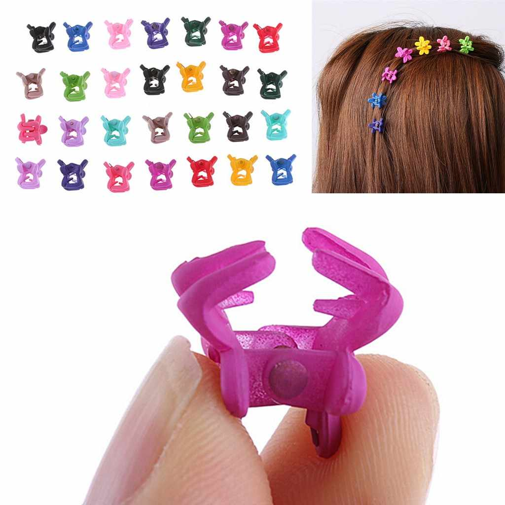 30Pcs Small Flowers Gripper Kids Baby Girls 4 Claws Plastic Mini Hair Clip Claw