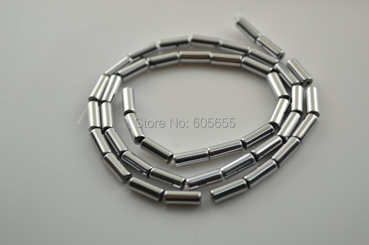 4x9mm Silver color plated Natural Hematite Round Tube Loose Beads fit Fashion Jewelry making 10 strands per lot Free Shipping