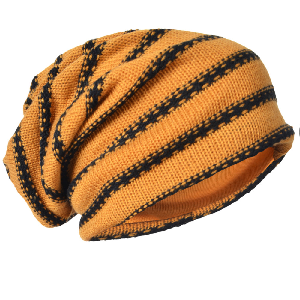 939df7ec2c3e0 HISSHE Classic Men Slouch Knitting Beanie Cap Winter Mens Baggy Casual Striped  Knit Skullies Cap High Quality Acrylic Hat-in Skullies   Beanies from  Apparel ...
