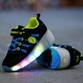 Nova criança jazzy júnior meninas/meninos led luz shoes patins crianças caçoa as sapatilhas com rodas único 28-42