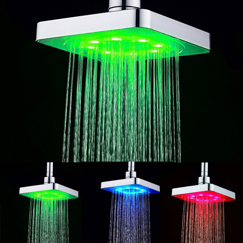 Hot Sale 6 Inch Square 7 Colors Changing LED Shower Head Bathroom ...